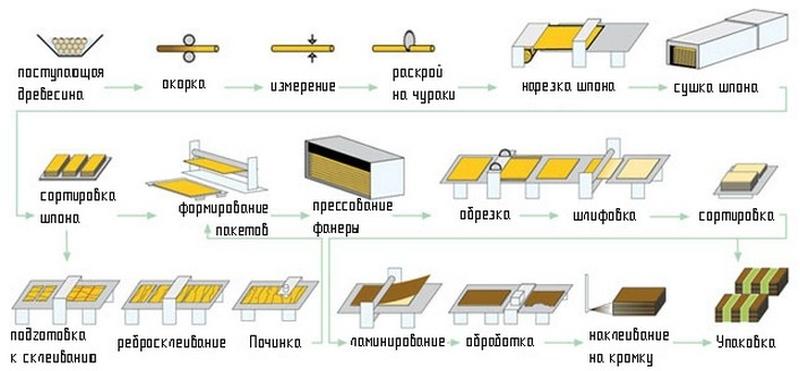 Процесс изготовления фанеры