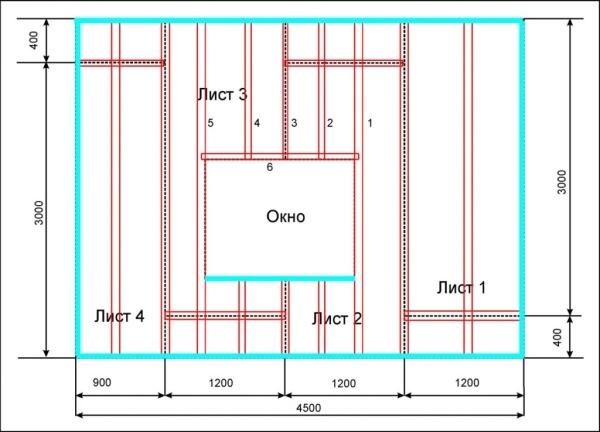 Схема размещения листов фанеры под обои