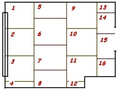 Пример схемы расположения листов фанеры в комнате