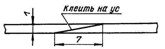 Схема соединения на ус фанерных кусков