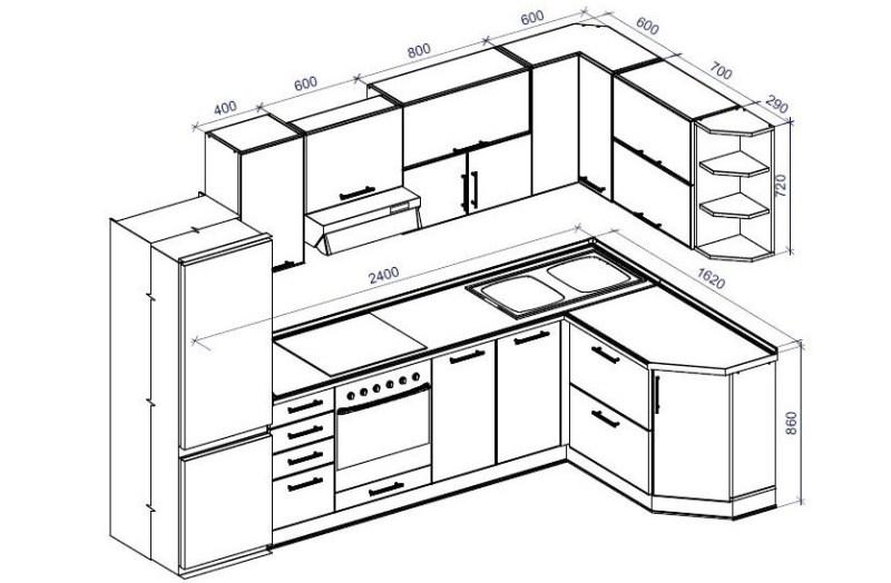 Кухонный гарнитур на чертеже